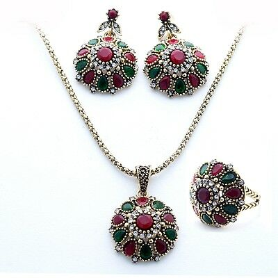 Yellow Gold Plated Ring Drop Earrings Pendant Necklace Gems C.Z. Jewelry Sets
