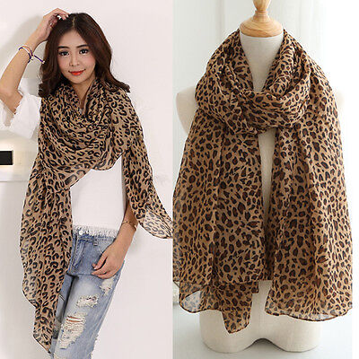 Lady Women Flat Large Print Leopard Animal Print Chiffon Scarf Shawl Stole Wrap
