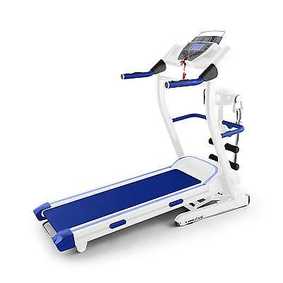 Pro Electric Treadmill Fitness Stamina Training Heart Monitor Tilt White / Blue