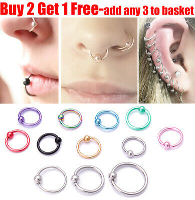 Surgical Steel Hoop Ring Ball Closure Piercing Lip Ear Nose Eyebrow Universal