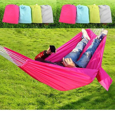 Double Size Two Person Portable Parachute Nylon Fabric Hammock Travel Camping