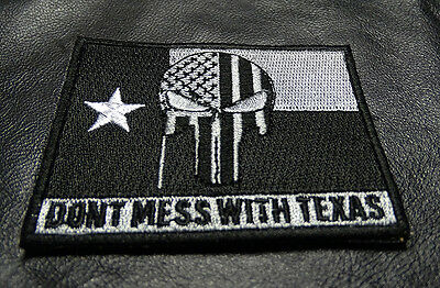 Dont Mess With Texas Punisher Skull Texas Flag Tactical Morale Hook Loop Patch