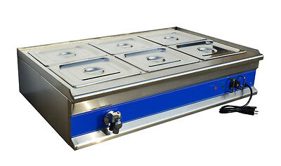 6 Pan Stainless Steel Food Warmer Steam Table Restaurant Kitchen 1.5KW 1/2 Pan