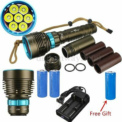 Underwater 100m 20000Lm 7 LED Diving Flashlight Torch+26650+Charger Set