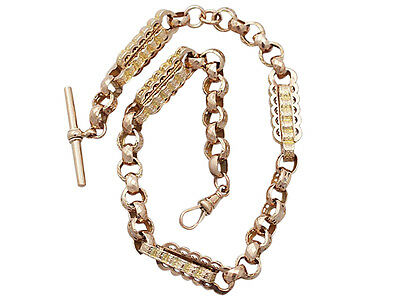 Antique 9 ct Yellow Gold and 9 ct Rose Gold Watch Chain - Circa 1900