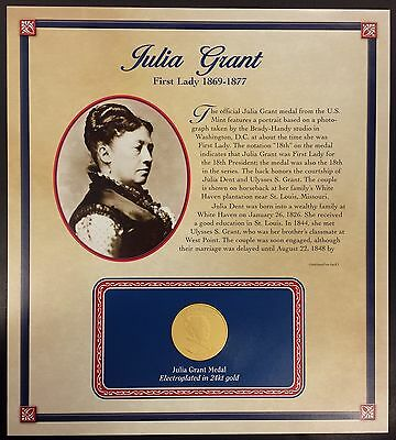 """(2011) Julia Grant """"First Spouse"""" bronze medal, 24 kt gold electroplated!"""