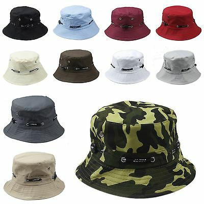 Unisex Bucket Hat Boonie Flat Hunting Fishing Outdoor Beach Cap Women Men Sunhat
