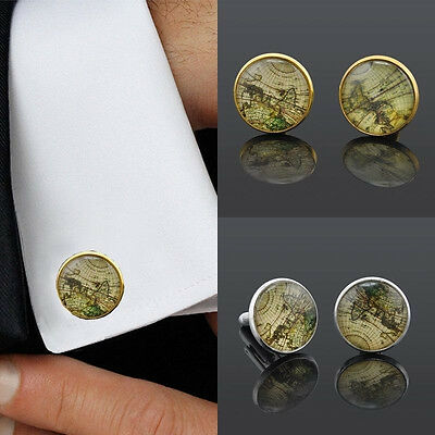 Vintage Gold Silver Plated Steel Mens Wedding Party Cufflinks Laser Cuff Links