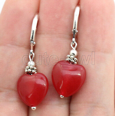 Natural Beautiful Pair of gemstone Heart Silver Plated Leverbacks earrings