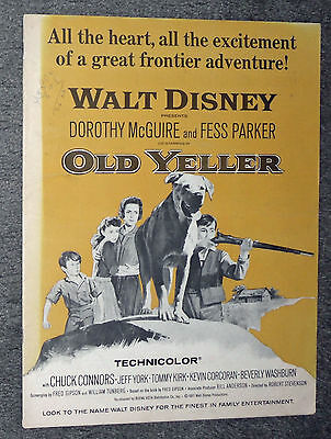 OLD YELLER original DISNEY movie pressbook FESS PARKER/CHUCK CONNORS/TOMMY KIRK