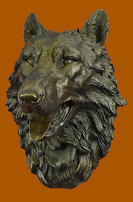 Bronze Sculpture Wildlife Classic Masterpiece Wolf Head Home Cabin Decor Sale NR