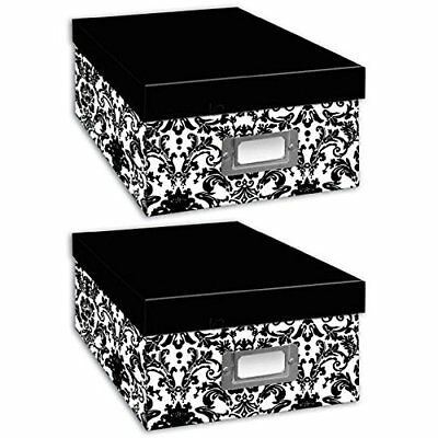 Pioneer Photo Albums Photo Storage Box Black/White Damask - TWO PACK