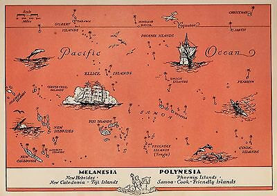 Charming PACIFIC ISLANDS Map Fun and Funky 1945 POLYNESIA Picture Map FIJI 2467