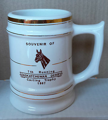 Vintage 1967 Souvenir of 7th Running Saskatchewan Derby Carling Trophy 22 K Gold