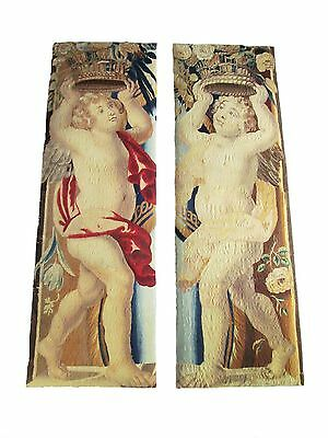 Pair of Belgian Angel Tapestry Fragments from the Baroque Period