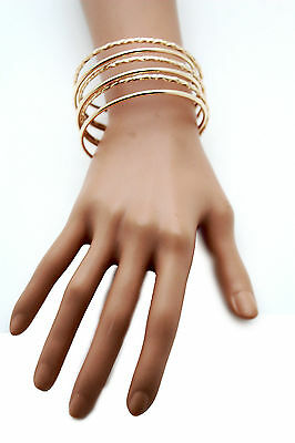 Women Cuff Bracelet Gold Metal Fashion Jewelry Bangles String Spring Adjustable