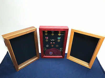 Shadow Box Display Military Cherry, Oak or Walnut wood