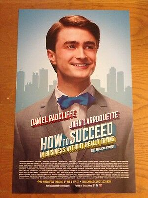 DANIEL RADCLIFFE (Harry Potter)  HOW TO SUCCEED Window Card Poster Broadway MINT
