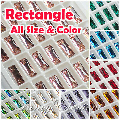 (Small Qty) Rectangle Glass All Size Color Crystal Sew On Rhinestones Beads Gems