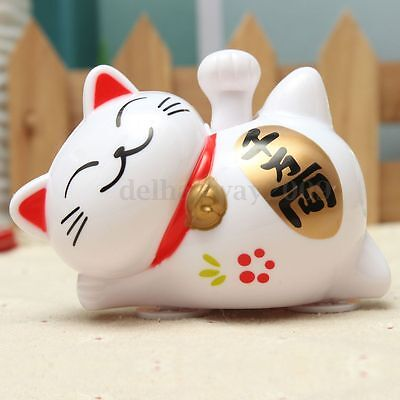 Solar Power Cute Fortune Lucky Cat Welcoming Waving Claw Car Decoration Toy Gift