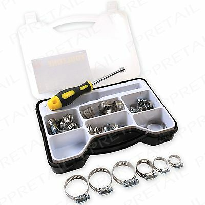 Stainless Steel Hose Clamp Set +INC. HEX DRIVER TOOL+ Jubilee Clip Kit Pipe Fuel