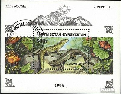Kyrgyzstan block16 (complete issue) used 1996 Reptiles