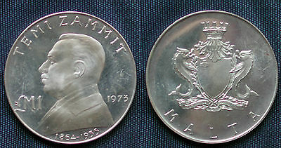 Moneta Coin Republika Ta Malta Temi Zammit Sterlina Pound 1973 Silver Argento #2