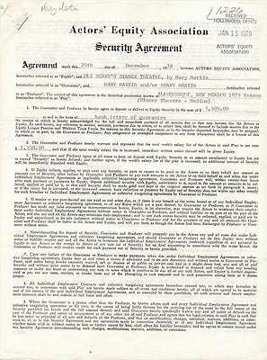 Henry & Mary Martin 1978 Contract Signed Many Times
