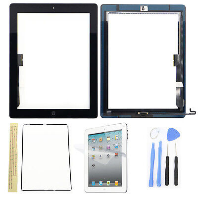Front Glass Touch Screen Digitizer W/ Home Button Assembly For iPad 4 + Tools