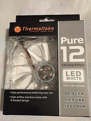 Lot of 4 Thermaltake Pure 12 120mm Computer Fan with White LED