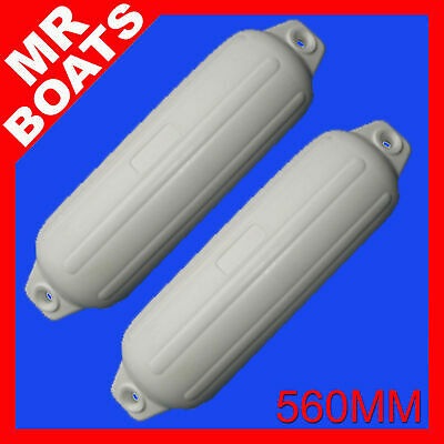 2 x 560mm INFLATABLE RIBBED BOAT FENDERS BUFFERS - TWIN EYE WHITE MOORING GUARDS