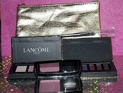 Lancome Lot Of 5 Pieces Cosmetic Bag + 2 Eyeshadow Palette + Blush +  Brush