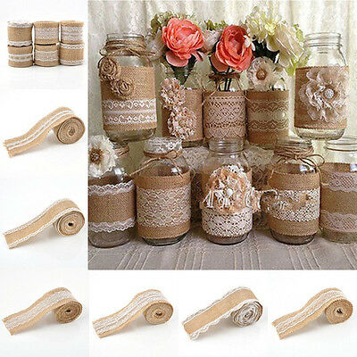 Vintage Lace Edged Hessian Burlap Ribbon Roll for Rustic Wedding Party Decor YG