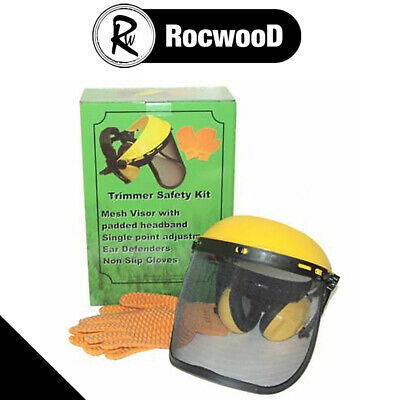 Face Mask Ear Defenders & Gloves Safety Kit For All Brushcutter & Strimmer Users