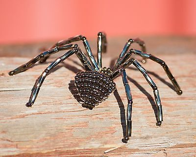 Handmade Java Brown Beaded Spider Pin