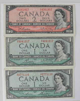3 Nice Canada Notes From Ottawa 1954: $4 Face Value~~One $2 & Two $1