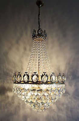 Vintage / Antique French Basket Style Brass & Crystals Chandelier Large Size