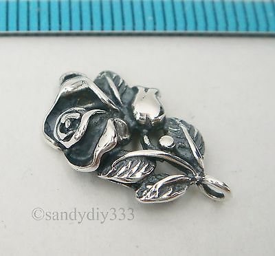 1x OXIDIZED STERLING SILVER ROSE FLOWER LINK CONNECTOR BEAD 14mm #2576