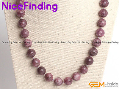 """6mm 8mm 10mm 12mm Round Natural Aries Luck Stone Purpre Tourmaline Necklace 18"""""""