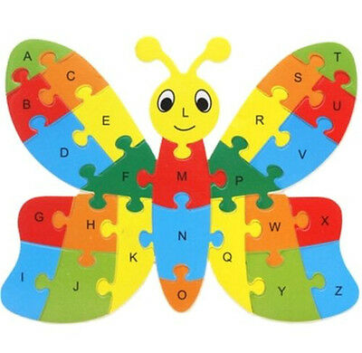 FD3451 Wooden Blocks Kid Child Educational Alphabet Puzzle Jigsaw Toy~Butterfly☆