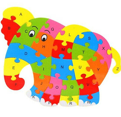 FD3453 Wooden Blocks Kid Child Educational Alphabet Puzzle Jigsaw Toy ~Elephant☆