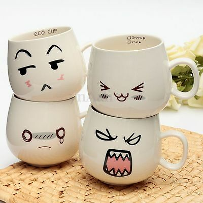Lovely Drama Funny Face Pottery Ceramic Tea Coffee Milk Cup Mug 300ml Lover Gift