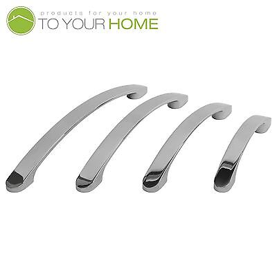 Bowed Chrome Kitchen Cupboard Cabinet Drawer Door Handles 4 Sizes