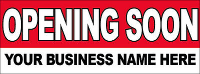 OPENING SOON Vinyl Banner (Custom Name) Sign 2x4, 6, 8, 3x8, 3x10, 4x8, 4x12'