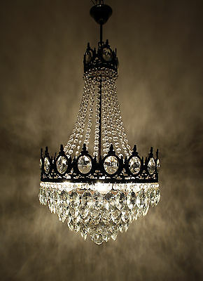 Antique French Basket Style Brass & Crystals 5 Tiers Chandelier Ceiling Lamp