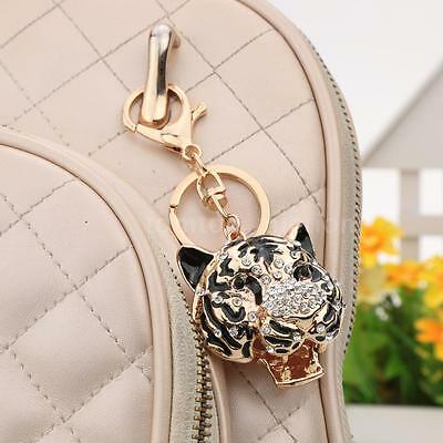 Crystal Rhinestone Tiger Head Keyring Charm Pendant Bag Key Ring Chain BLK 3F6L