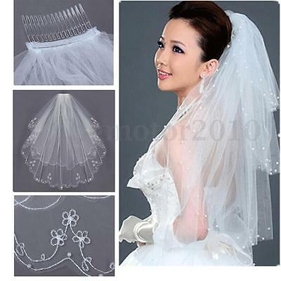 2T Embroidery Pearls Beaded Edge Bridal Wedding Elbow Veil W/ Comb White Ivory