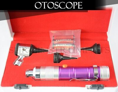 Otoscope Set PURPLE ENT Medical Diagnostic Instruments  (Batteries Included)