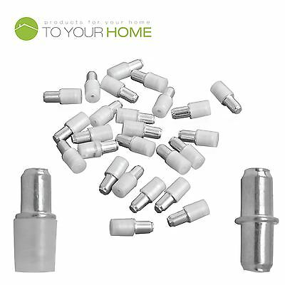 Pack of 24 5mm Shelf Supports, Steel Plug in Pegs with Plastic Covers for Glass