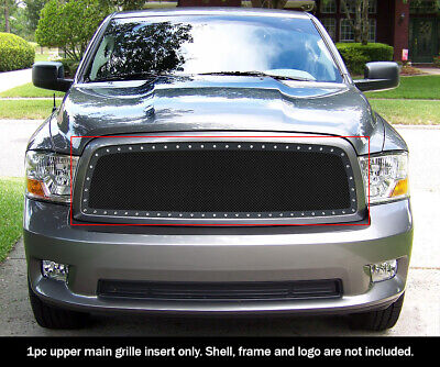 For 2009-2012 Dodge Ram 1500 Upper Black Rivets Grille Inserts
